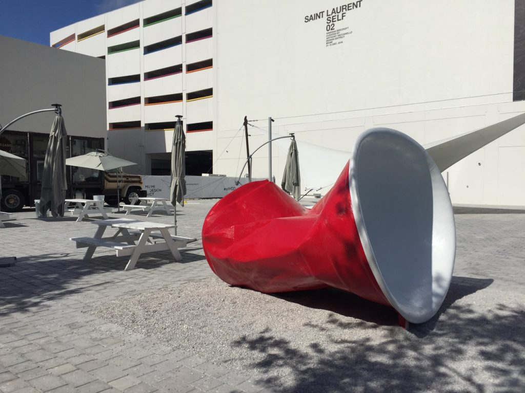 Red Solo cup sculpture by Pamela Crown in the Miami Design District. (Photo by Sandra Schulman)